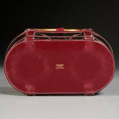 Jacques Adnet RARE RED STITCHED LEATHER EQUESTRIAN DECANTER SET BY JACQUES ADNET FOR HERMES - 1911386