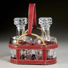 Jacques Adnet RARE RED STITCHED LEATHER EQUESTRIAN DECANTER SET BY JACQUES ADNET FOR HERMES - 1911392