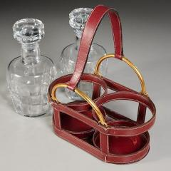 Jacques Adnet RARE RED STITCHED LEATHER EQUESTRIAN DECANTER SET BY JACQUES ADNET FOR HERMES - 1911393