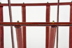 Jacques Adnet Rare Magazine Rack In Stitched Leather by Jacques Adnet - 1086586