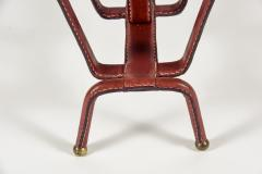 Jacques Adnet Rare Magazine Rack In Stitched Leather by Jacques Adnet - 1086589