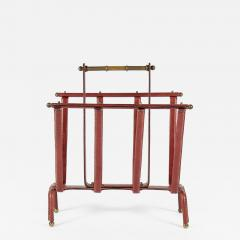 Jacques Adnet Rare Magazine Rack In Stitched Leather by Jacques Adnet - 1088121