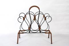 Jacques Adnet Rare Stitched leather magazines rack by Jacques Adnet - 1182897