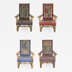 Jacques Adnet Rare and Important Set of Four Jacques Adnet Oak Upholstered Chairs 1940s - 303463