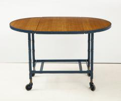 Jacques Adnet Rare oak and blue stitched leather drop leaf table bar cart by Jacques Adnet - 1680373