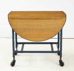 Jacques Adnet Rare oak and blue stitched leather drop leaf table bar cart by Jacques Adnet - 1680376