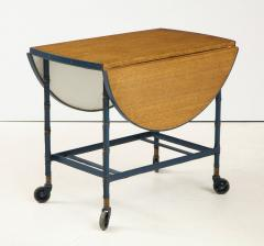 Jacques Adnet Rare oak and blue stitched leather drop leaf table bar cart by Jacques Adnet - 1680378