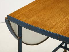 Jacques Adnet Rare oak and blue stitched leather drop leaf table bar cart by Jacques Adnet - 1680383