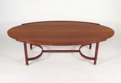 Jacques Adnet Rare oval coffee table - 2089957