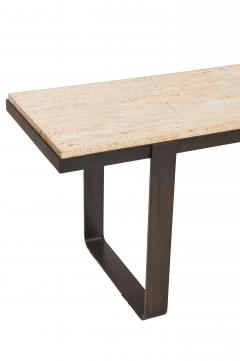 Jacques Adnet Vintage Darkened Iron Table with Travertine Top - 538599