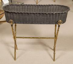 Jacques Adnet Wicker Planter with Gilt Brass Bamboo Base - 759000