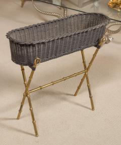 Jacques Adnet Wicker Planter with Gilt Brass Bamboo Base - 759001