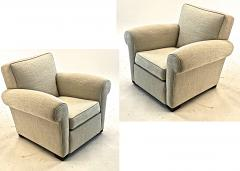 Jacques Adnet jacques Adnet pair of comfy club chairs newly covered in canvas cloth - 1519818