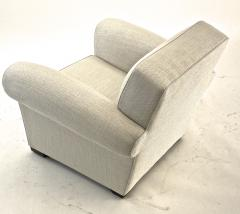Jacques Adnet jacques Adnet pair of comfy club chairs newly covered in canvas cloth - 1519822