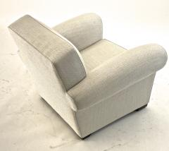 Jacques Adnet jacques Adnet pair of comfy club chairs newly covered in canvas cloth - 1519823