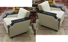 Jacques Adnet rarest documented comfy pair of club chairs fully restored - 2071544