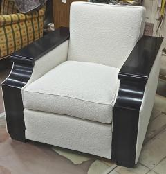 Jacques Adnet rarest documented comfy pair of club chairs fully restored - 2071553