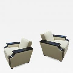 Jacques Adnet rarest documented comfy pair of club chairs fully restored - 2072217