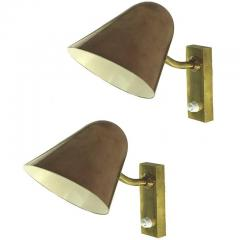 Jacques Biny Pair of 1960s Jacques Biny Brass and Copper Wall Lights - 983396