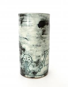 Jacques Blin Jacques Blin French Ceramic Artist Pale Blue Ceramic Cylinder Vase c1960 - 1038195