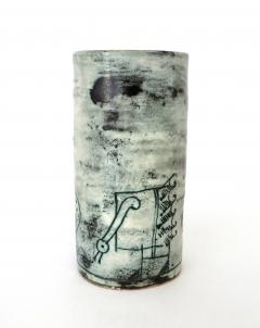 Jacques Blin Jacques Blin French Ceramic Artist Pale Blue Ceramic Cylinder Vase c1960 - 1038196