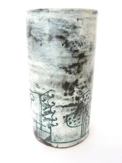 Jacques Blin Jacques Blin French Ceramic Artist Pale Blue Ceramic Cylinder Vase c1960 - 1038197