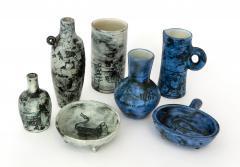 Jacques Blin Jacques Blin French Ceramic Artist Pale Blue Ceramic Cylinder Vase c1960 - 1038198