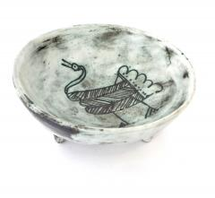 Jacques Blin Jacques Blin French Ceramic Artist Pale Blue Ceramic Footed Bowl 1960 - 1038207