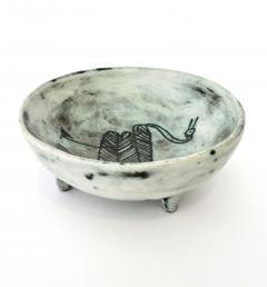 Jacques Blin Jacques Blin French Ceramic Artist Pale Blue Ceramic Footed Bowl 1960 - 1038210