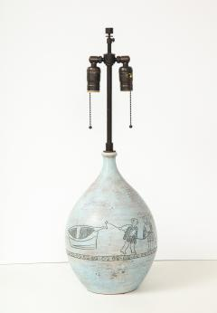 Jacques Blin Jacques Blin lamp in light blue incised with two men and a boat - 1510609