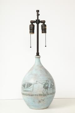 Jacques Blin Jacques Blin lamp in light blue incised with two men and a boat - 1510611
