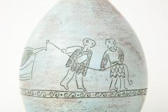 Jacques Blin Jacques Blin lamp in light blue incised with two men and a boat - 1510612