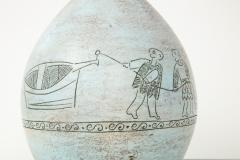Jacques Blin Jacques Blin lamp in light blue incised with two men and a boat - 1510613