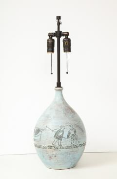 Jacques Blin Jacques Blin lamp in light blue incised with two men and a boat - 1510614