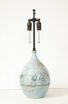 Jacques Blin Lamp in light blue incised with two men and a boat - 987985