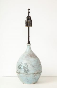 Jacques Blin Lamp in light blue incised with two men and a boat - 987986