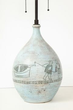 Jacques Blin Lamp in light blue incised with two men and a boat - 987989