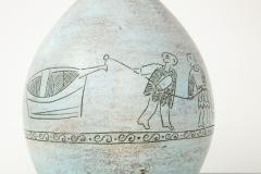 Jacques Blin Lamp in light blue incised with two men and a boat - 987991