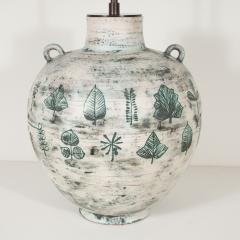 Jacques Blin Large white and green ceramic lamp with leaf design by Jacques Blin - 1406439