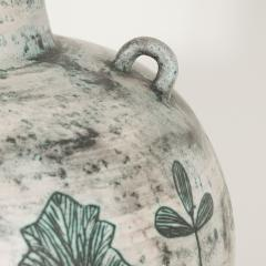 Jacques Blin Large white and green ceramic lamp with leaf design by Jacques Blin - 1406440