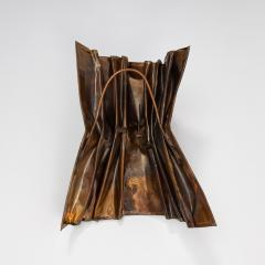Jacques Couelle Illuminating Brutalist Wall Lamp in Folded Copper Leaf - 1688351