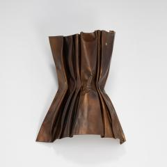 Jacques Couelle Illuminating Brutalist Wall Lamp in Folded Copper Leaf - 1688355