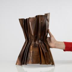 Jacques Couelle Illuminating Brutalist Wall Lamp in Folded Copper Leaf - 1688357