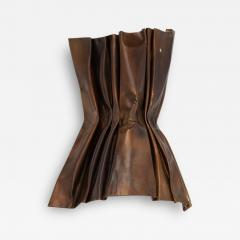 Jacques Couelle Illuminating Brutalist Wall Lamp in Folded Copper Leaf - 1688926