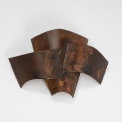 Jacques Couelle Illuminating Brutalist Wall Lamp in Folded Copper Leaf - 1688374