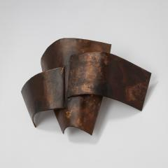 Jacques Couelle Illuminating Brutalist Wall Lamp in Folded Copper Leaf - 1688376