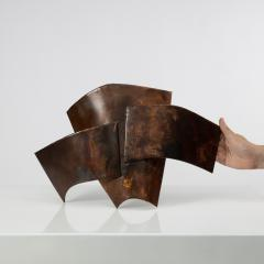 Jacques Couelle Illuminating Brutalist Wall Lamp in Folded Copper Leaf - 1688378