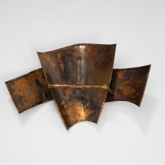 Jacques Couelle Illuminating Brutalist Wall Lamp in Folded Copper Leaf - 1688379