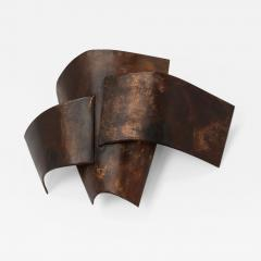 Jacques Couelle Illuminating Brutalist Wall Lamp in Folded Copper Leaf - 1688927