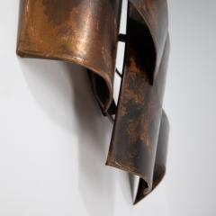 Jacques Couelle Illuminating Brutalist Wall Lamp in Folded Copper Leaf - 1688387